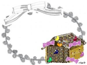 フリー素材:フレーム;北欧風のグレーのレースとリボンの飾り枠とガーリーなお菓子の家;640×480pix