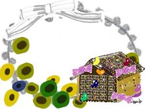 フリー素材:フレーム;北欧風の花とお菓子の家とグレーのリボンとレースの飾り枠;640×480pix