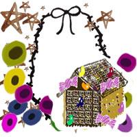 フリー素材:バナー・アイコン:200pix;北欧風の花と水彩の星とお菓子の家とのリボンのレースの飾り枠のwebデザイン素材