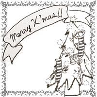 フリー素材:アイコン;モノトーンの北欧風のクリスマスツリーとMerryX'masの手書き文字のりぼんとレースの囲み枠のwebデザイン素材