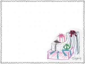 フリー素材:フレーム:640×480pix;大人かわいいプレゼントボックスの山とモノトーンのレースの飾り枠