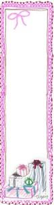 バナー広告のフリー素材:ガーリーなピンクのレースとリボンとプレゼントボックスのイラストの飾り枠;160×600pix