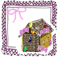 フリー素材:アイコン;ガーリーなピンクのリボンと紫のレースとお菓子の家のwebデザイン素材