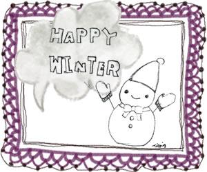 フリー素材:バナー広告;モノトーンの雪だるまとHAPPYWINTERの手書き文字と水彩の吹出しと紫のレースのフレーム;300×250pixミディアムレクタングル