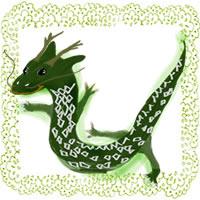 フリー素材:辰のポップなイラストと若葉色ののレース;アイコン(twitter,mixi,ブログ)200×200pix