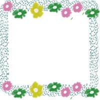 フリー素材:北欧風の小花とパステルブルーのレースの飾り枠;アイコン(twitter,mixi,ブログ)200×200pix