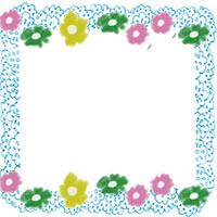 フリー素材:アイコン(twitter);北欧風のレトロな小花とパステルブルーのレースの飾り枠のwebデザイン素材