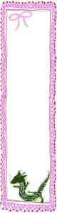 フリー素材:辰の大人かわいいイラストとピンクのレースとりぼん;バナー広告160×600pix