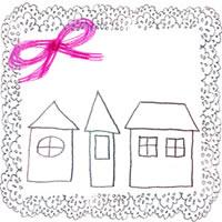 フリー素材:北欧風のモノトーンのお家とピンクのリボンとレトロなレースの飾り枠;アイコン(twitter,mixi,ブログ)200×200pix