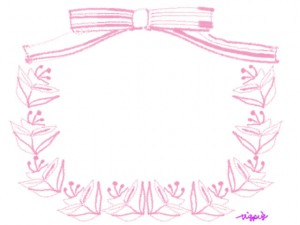 フリー素材:フレーム;北欧風の花と葉とピンクのりぼんの飾り枠:640×480pix