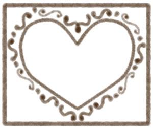 バナー広告、webデザインのフリー素材:大人可愛いブラウンのハートのフレーム(飾り枠);300×250pix