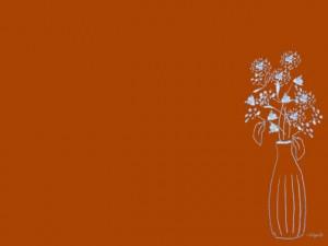 フリー素材:北欧風の花と花瓶と茶色の背景の無料イラスト:640×480pix
