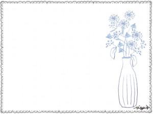 フリー素材:フレーム;北欧風の花と花瓶とモノトーンのレースの囲み枠:640×480pix