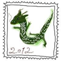 フリー素材:切手風の飾り枠とかわいい辰と20120の手書き文字;アイコン(twitter)