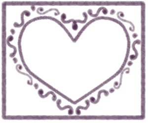 フリー素材:フレーム;大人可愛いあずき色のハートのフレーム(飾り枠);300×250pix