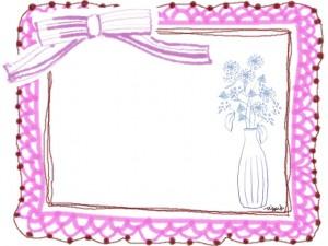 フリー素材:フレーム;北欧風の花と花瓶とかわいいピンクのレースの囲み枠:640×480pix