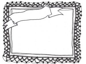 フリー素材:モノトーンのガーリーなリボンとレースの飾り枠:フレーム:640×480PIX
