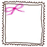 フリー素材:切手風のイラストのガーリーな囲み枠とピンクのリボン;アイコン(twitter)