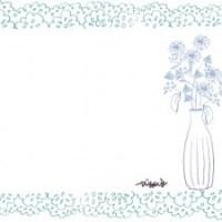 フリー素材:フレーム;北欧風の花瓶とシンプルな花とパステルブルーのレースの囲み枠:640×480pix