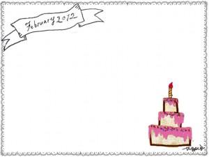 フリー素材:バレンタインのフレーム:ピンクのケーキとモノトーンのFebrary(2月)の手書き文字とリボン;640×480PIX