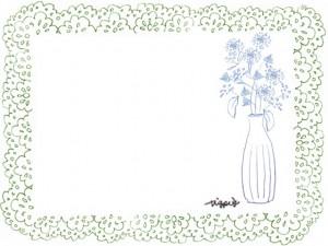 フリー素材:フレーム;北欧風の花と葉と花瓶とうぐいす色のレースの飾り枠:640×480pix