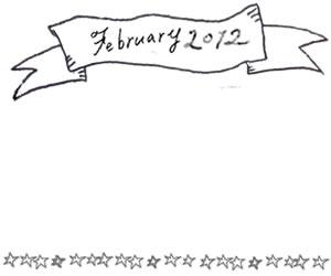 フリー素材:2月のフレーム:モノトーンのFebruaryの手書き文字と手描きの星の大人かわいい飾り枠;320×250PIX