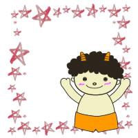 フリー素材:2月のアイコン(twitter);節分のかわいい鬼とピンクの水彩の手描きの星の飾り枠;200×200pix