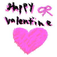 フリー素材:2月のアイコン(twitter);ガーリーなピンクのハートとリボンとHappyValentineの手書き文字;200×200pix