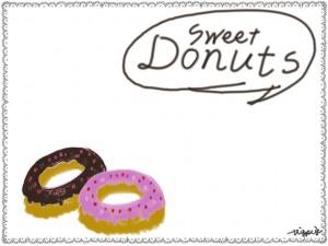 苺とチョコのドーナツとSweetDonutsの手書き文字とフキダシとレースの飾り枠:フリー素材:フレーム;640×480pix