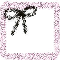 フリー素材:アイコン(twitter);モノクロのリボンとレトロなピンクの飾り枠;200×200pix