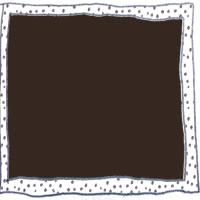 フリー素材:アイコン(twitter);ブラウンブラックの背景のモノトーンの鉛筆の手描きのラフな水玉とラインのフレームム;200×200pix