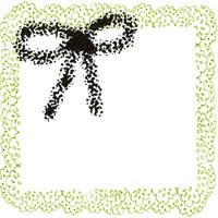 フリー素材:アイコン(twitter);モノクロのリボンと若草色のレトロなレースの大人可愛いフレーム;200×200pix