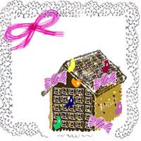 フリー素材:アイコン(twitter);大人可愛いお菓子の家とモノクロのレースのフレーム;200×200pix