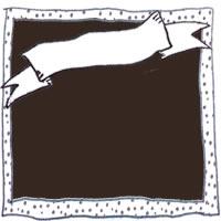 アイコン(twitter):鉛筆画きの水玉のフレームとリボンの見出しとブラウンブラックの背景が大人可愛いフリー素材;200×200pix