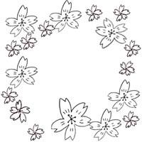 モノトーンのフリー素材:アイコン,バナー(twitter);手描きのガーリーな桜のイラストのフレーム;200×200pix