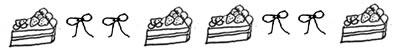 フリー素材:飾り罫;モノクロのリボンと手描きのイチゴショートケーキの罫線