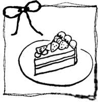 フリー素材:アイコン;モノクロのリボンと手描きのイチゴショートケーキのイラストとラフなラインの囲み枠;200×200pix