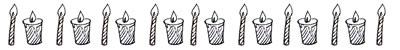 フリー素材:飾り罫;モノクロのキャンドルいっぱいのレトロで大人可愛いイラスト