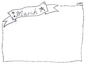 フリー素材:3月のフレーム;モノトーンのリボンの見出しと手書き文字Marchと星とラインの囲み枠;640×480pix