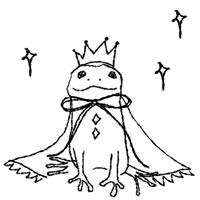 フリー素材:アイコン(twitter);大人可愛い蛙(かえる)の王子とキラキラのイラスト