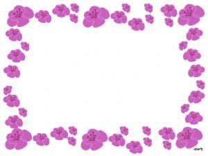 フリー素材:春のフレーム;大人可愛いピンクの桃の花いっぱいのフレーム:640×480pix