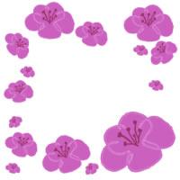 春のフリー素材:壁紙,パターン;大人可愛い桃の花いっぱいのイラスト;200pix