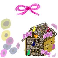 フリー素材:アイコン(twitter);北欧風の花とリボンが大人可愛いお菓子の家のイラスト;200pix