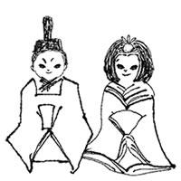 フリー素材:アイコン(twitter);モノトーンの手描きの雛人形のガーリーなイラスト;200pix