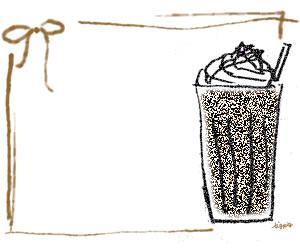 フリー素材:バナー広告;大人可愛い茶色のリボンとスタンプ風のカフェモカのガーリーなフレーム;300×250pixミディアムレクタングル