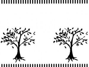 フリー素材:フレーム;北欧風のモノトーンのストライプの飾り罫とナチュラルな木;640×480pix