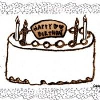 フリー素材:フレーム;北欧風のレトロなレースと大人可愛いお誕生日ケーキとのイラスト;640×480pix