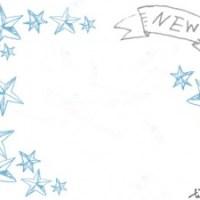 フリー素材:フレーム;大人可愛いアンティーク風のNewの手書き文字のりぼんと星いっぱいのイラスト;640×480pix