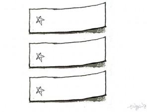フリー素材:モノクロのシンプルな鉛筆画の付箋と星のイラスト;640×480pix