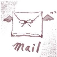 フリー素材:アイコン,バナー:くすんだピンクが大人可愛い天使の羽根つきのメールのスタンプ風イラスト;200×200pix